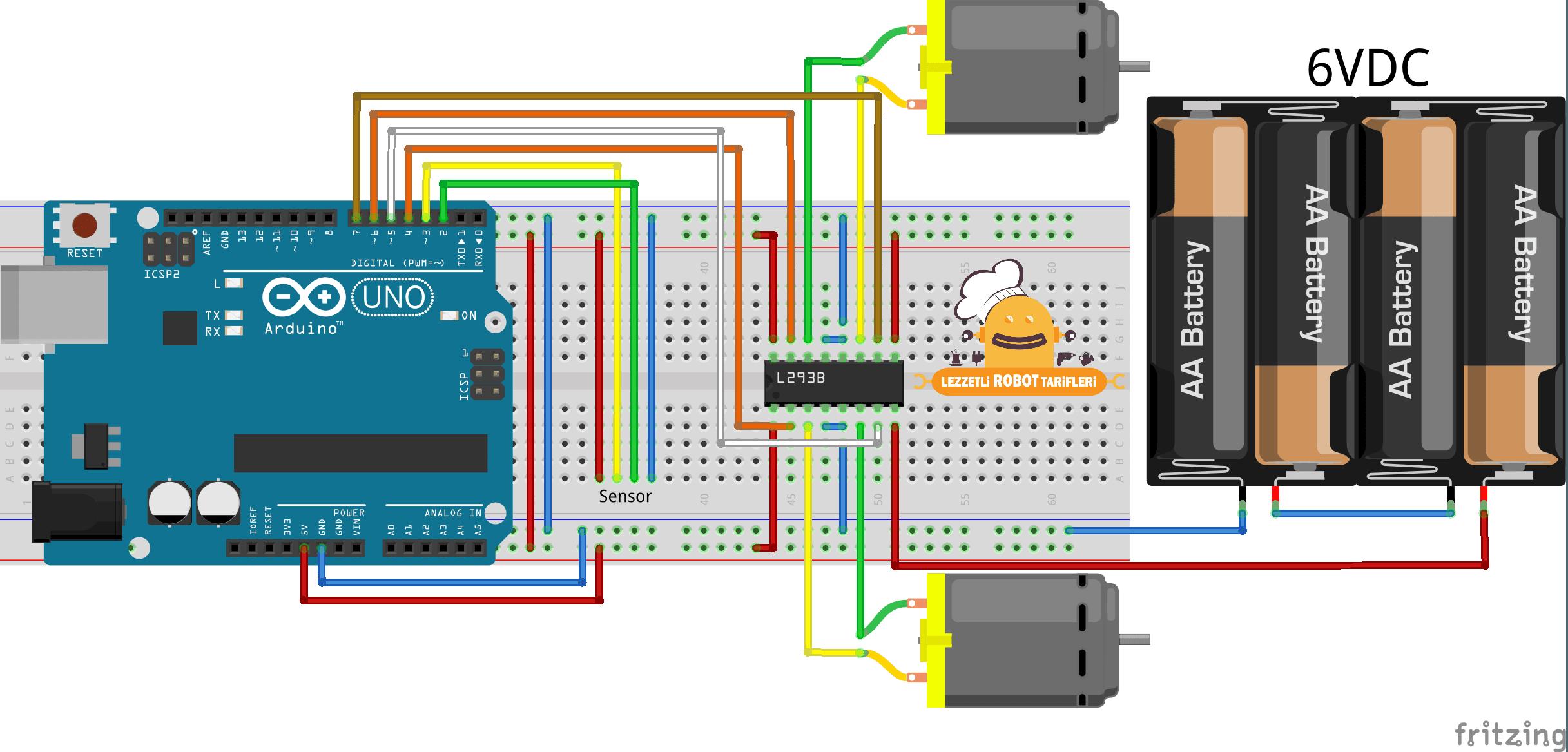 arduino ile cizgi izleyen robot surucu