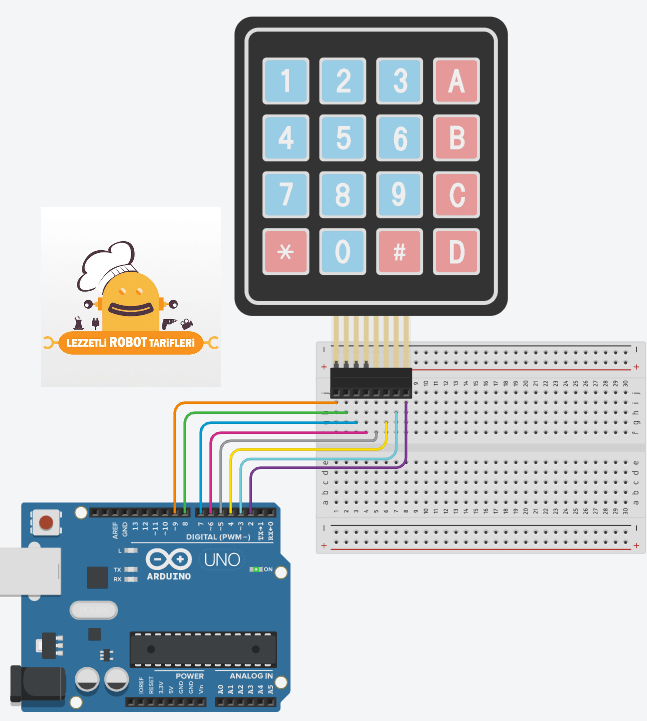 arduino ile keypad kullanimi devre semasi