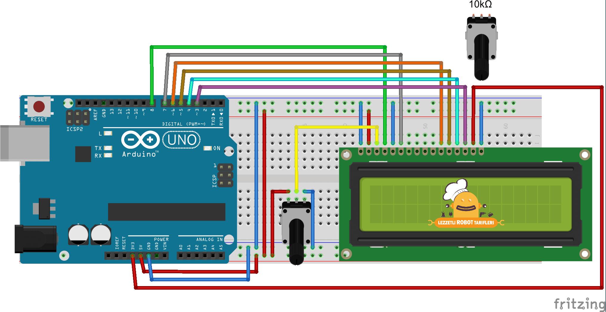 2x16 LCD Ekran ve Arduino #1 devre şeması