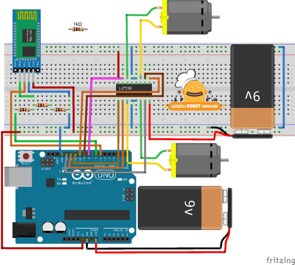 bluetooth kontrollü araba devre şeması