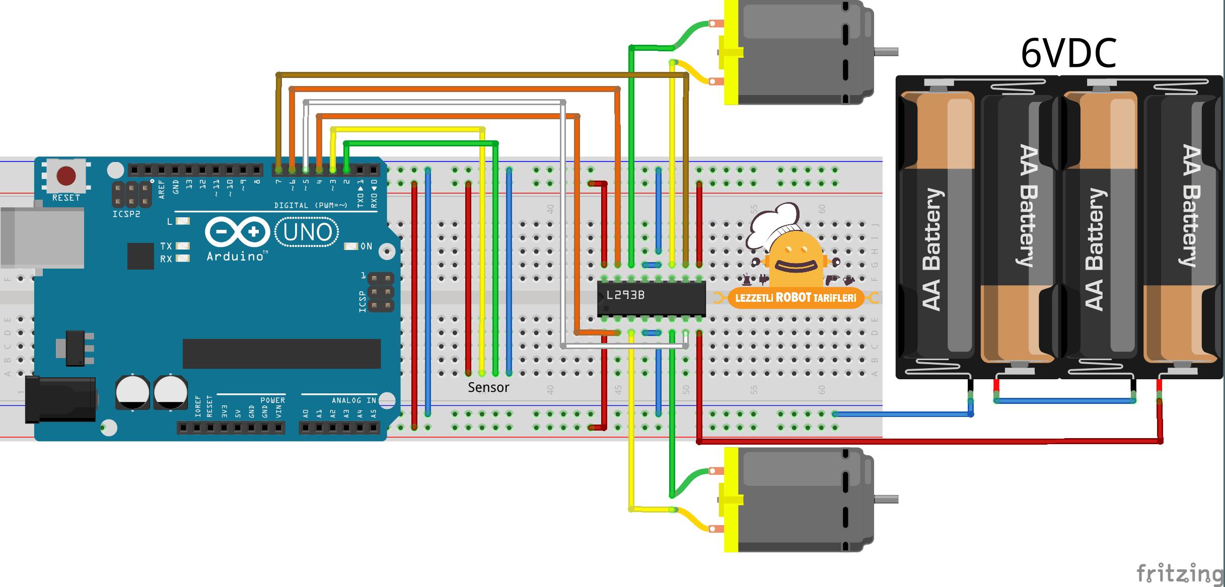 Arduino İle Çizgi İzleyen Robot v1.00 / 1. Bölüm devre şeması 2