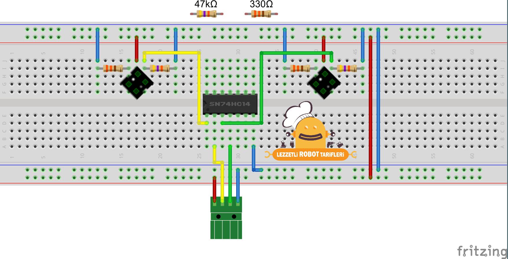 Arduino İle Çizgi İzleyen Robot v1.00 / 1. Bölüm devre şeması 1
