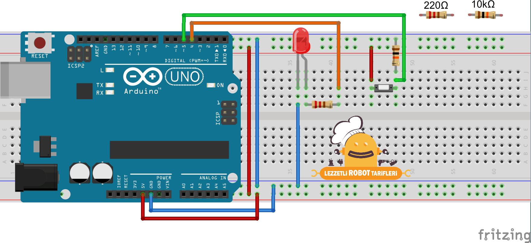 Arduino Tarifleri #4 - Dijital Pinleri Giriş Olarak Kullanmak devre şeması