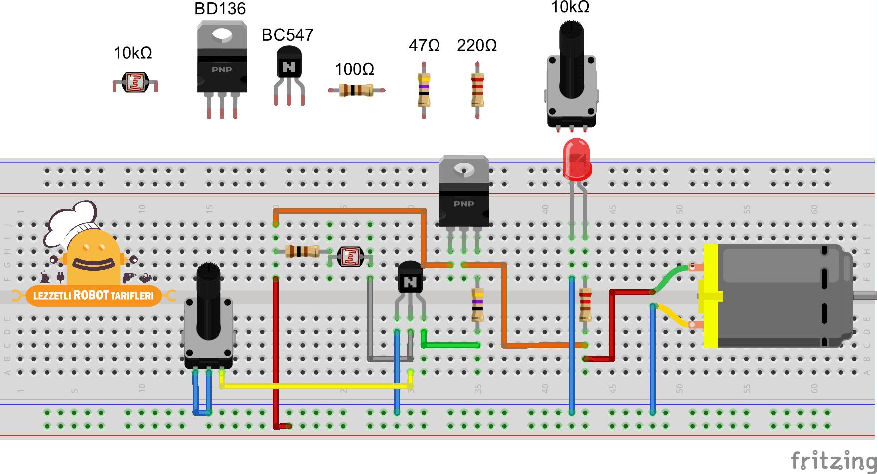 Işık İzleyen Robot v1.00 / 3.Bölüm devre şeması