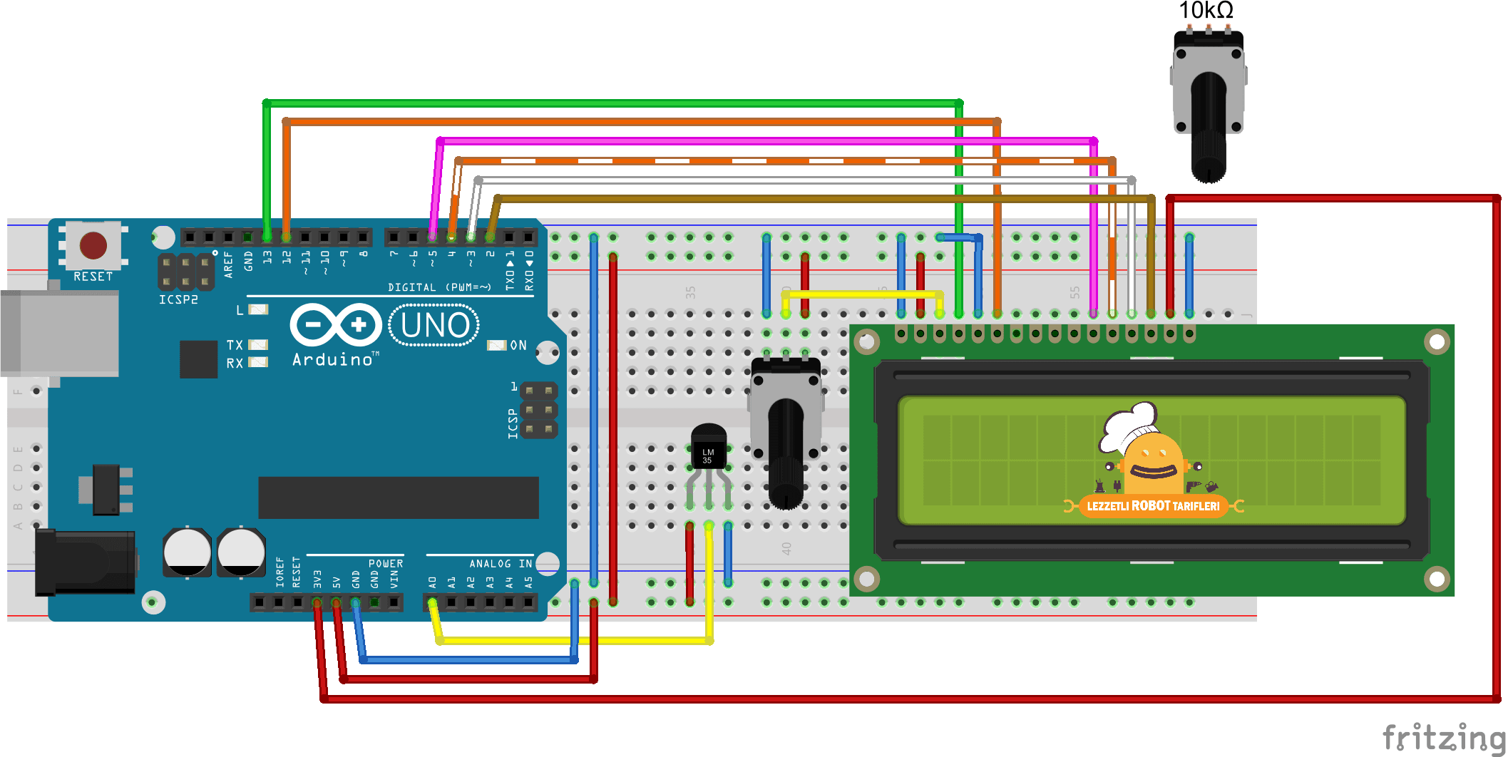 LM35 ve LCD ile Arduino Termometre devre şeması
