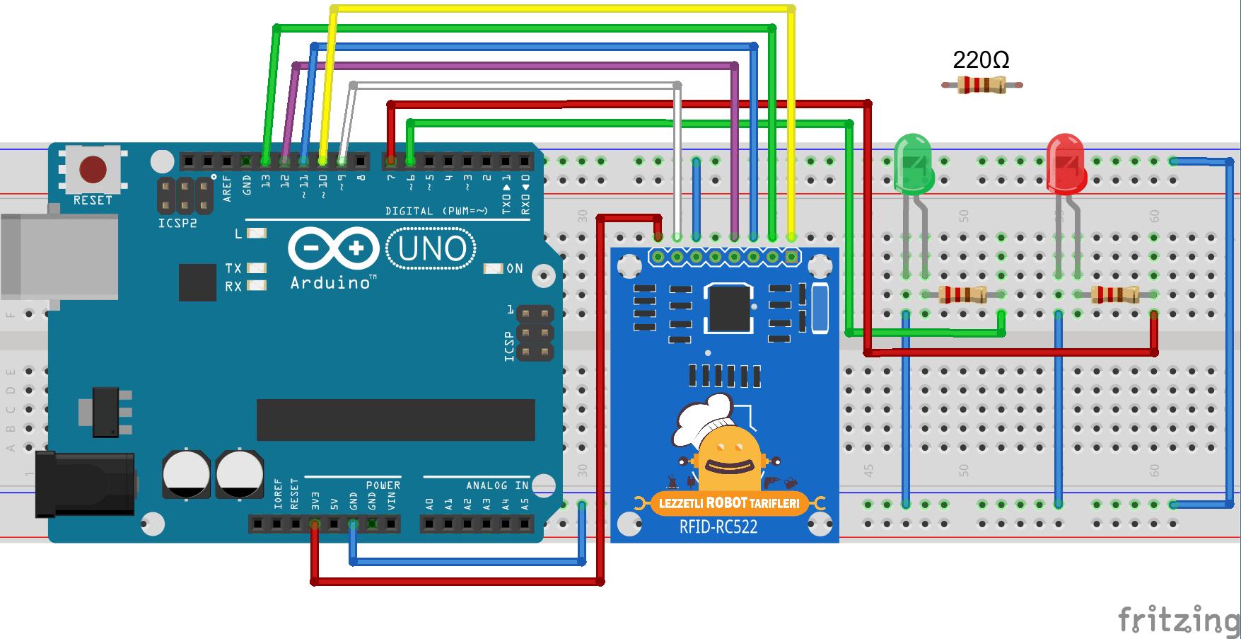 Arduino ile RFID Uygulaması Devre Şeması