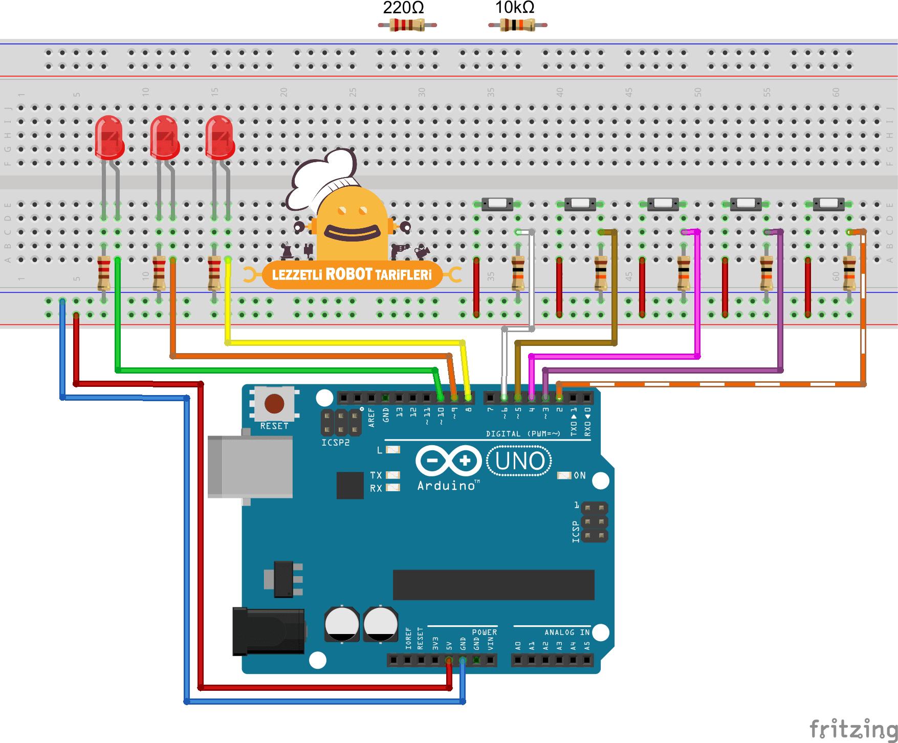 Arduino Tarifleri #5 - IF-ELSE Komutunu Kullanmak devre şeması