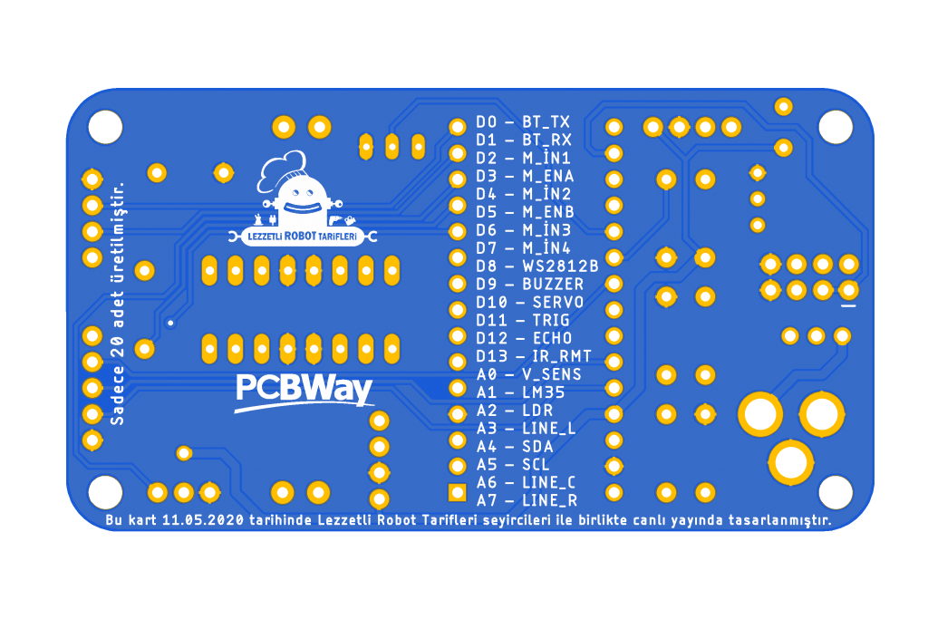 LRTRobo PCB arka yüzü