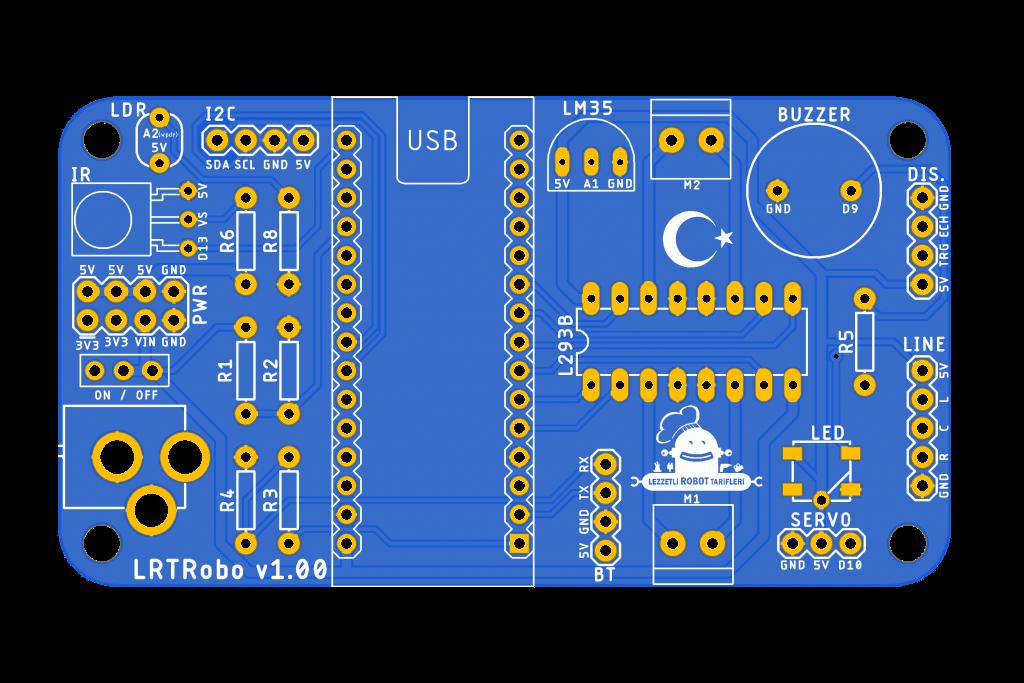 LRTRobo PCB ön yüzü