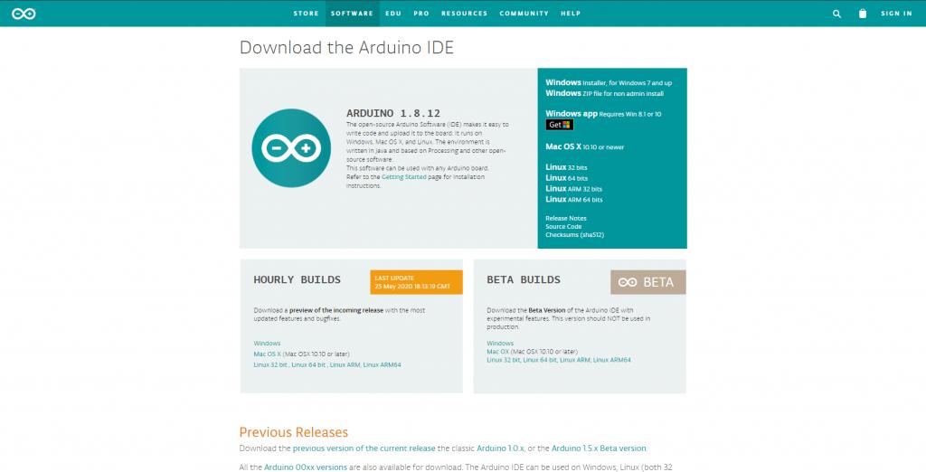 Arduino nasıl indirilir konusu için Arduino sitesinden indirme ekranı görüntüsü