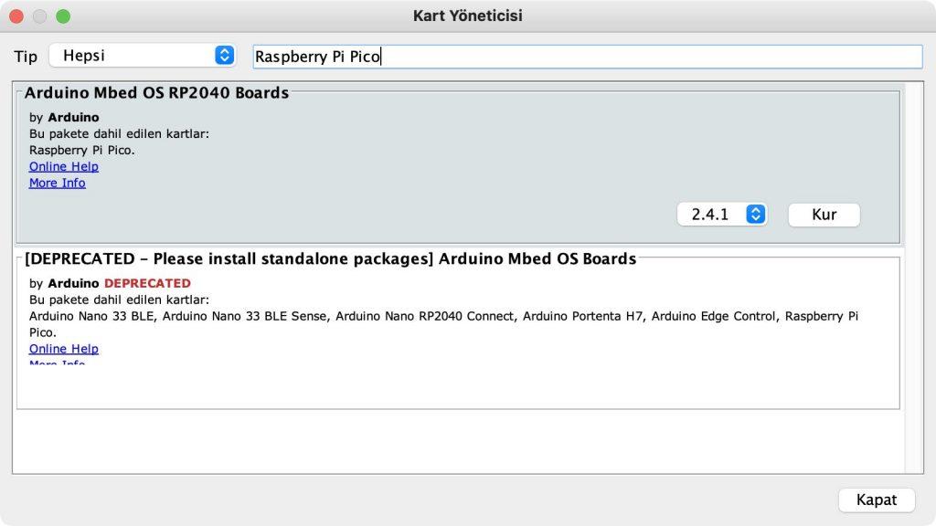 Arduino IDE 1.8 üzerinde Kart Yöneticisi ile Raspberry Pi Pico Kart Kurulumunun Yapılması